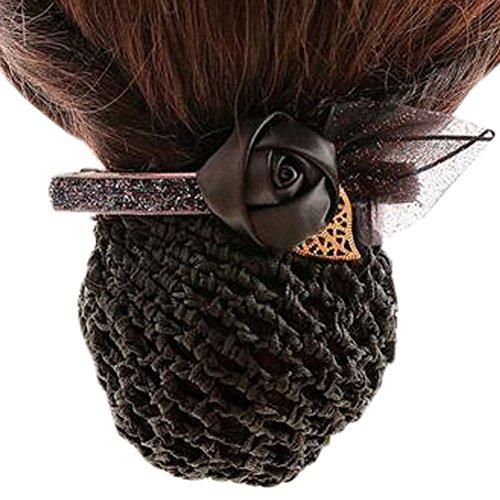 Ladies Bowtie Mesh Elastique Bun Couverture Hairnets Hair Snood, Rose Bleu et Noir, Rough Mesh