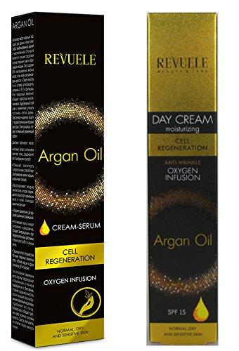 Aceite de Argán revuele Cell regeneración, Hidratante Antiarrugas Día/crema de manos Set
