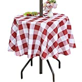 Poise3EHome 60 inches Outdoor/Indoor Waterproof Spillproof Round Tablecloth with Umbrella Hole for Camping, Picnic, Spring, Patio, Party, Red Checkered