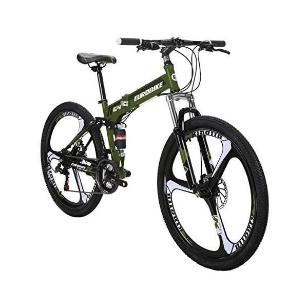 Mountain Bikes Eurobike G4 Mountain Bike 21 Speed Steel Frame 26 Inches 3 Spoke Wheel Dual Suspension Folding Bike