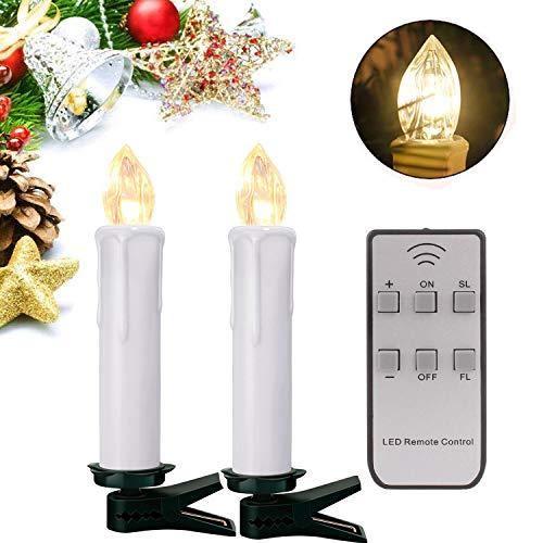 30er LED Lichterkette Kerzen Kabellos Weihnachtskerzen Christbaumschmuck Weihnachtsbaumbeleuchtung mit Fernbedienung Kabellos Weiss Hülle