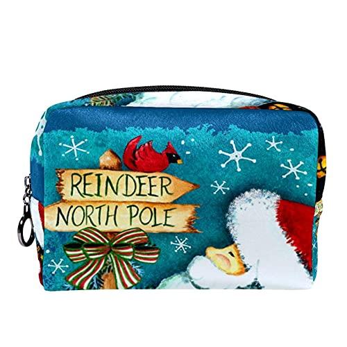 Neceser de viaje para cosméticos Bolsa de maquillaje con cierre de cremallera portátil diaria,camino de santa decorativo invierno navidad vacaciones polo norte