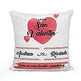 AR Regalos Cojín San Valentín Personalizado de Lentejuelas - Rojo