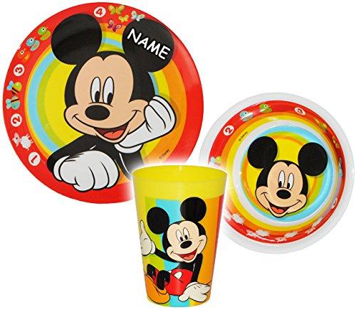alles-meine.de GmbH 3 TLG. Geschirrset -  Disney Mickey Mouse  - incl. Name - aus Melamin - Trinkbecher + Teller + Müslischale / Suppenschüssel - Kindergeschirr Frühstücksset -..