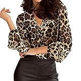 Luckycat Camisetas y Tops Leopardo Impresión, Manga Larga Blusas Casuales de Mujer Cuello en V Talla Grande Primavera Desgastar Invierno Base