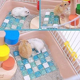 DORLIONA LanLan Hamster Cooling Stone Mat Ice Pad Summer Small Animal Rabbit Chinchilla Cool Bed House -25:Light Blue, L