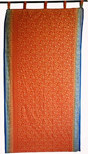 Indian georgette tela cortina de ventana, puerta, Drape Panel cortina de precio por naranja y azul