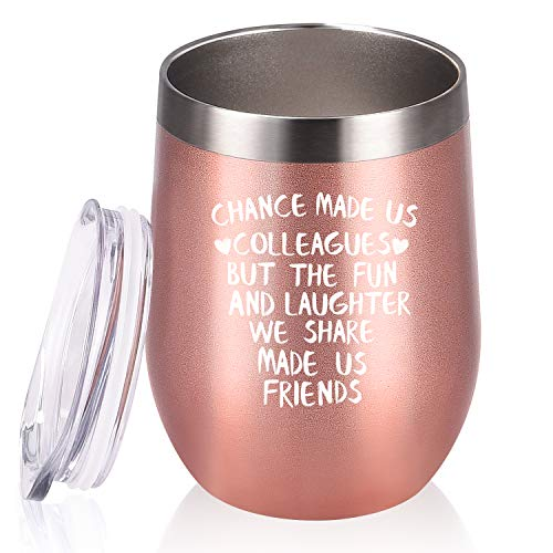 Coworker Gifts for Women, Chance Made Us Colleagues Wine Tumbler Coworker, Funny Going-away Leaving Farewell Thank You Birthday Christmas Gifts for Coworkers Colleague Boss, 12 Oz, Rose gold