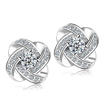 Fashion Jewelry Womens Ear Stud Cubic Zirconia Rhinestone Earrings for Women Girls gift (Sliver)