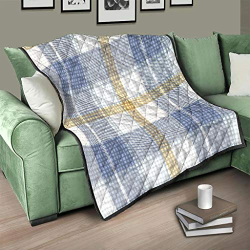 AXGM Colcha escocesa de tartán azul a cuadros, manta suave de microfibra, sofá blanco, 173 x 203 cm