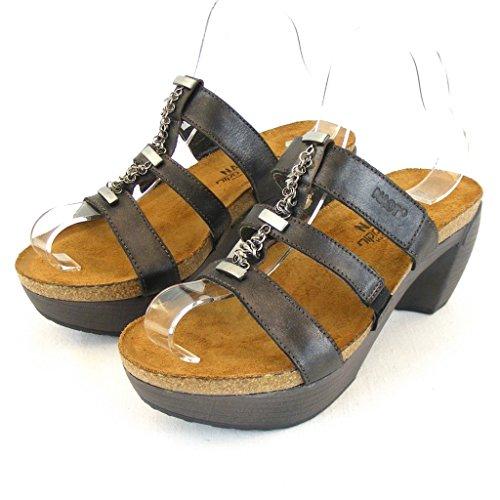 Naot Bond schwarz metallic Damen Schuhe Pantoletten Leder 11844 Korkfußbett, Größe:36 EU