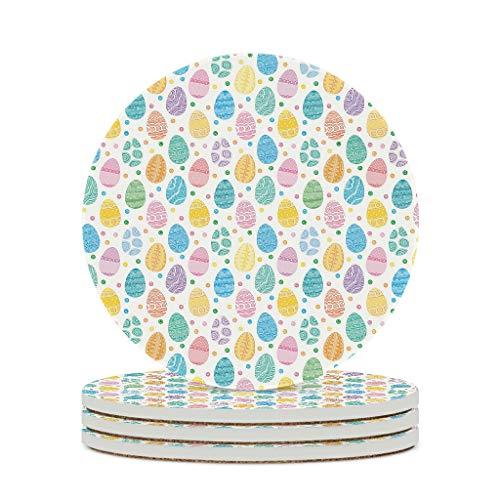 Wraill Posavasos redondos con diseño de huevos de Pascua de colores, de cerámica, juego de 4/6 unidades, posavasos para bebidas con base de corcho para tazas y tazas, color blanco, 4 unidades