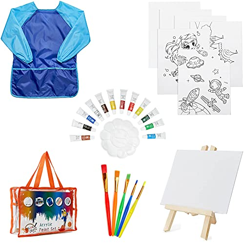 KUDOUT Acryl Leinwand Set für Kinder, 27 Stück Kinder Acrylfarben...
