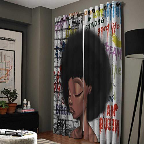 YJRXSS Cortinas Aislantes Mujer Africana Sexy 2 X W 75 X L 166 Cm para Dormitorio Salón Habitación Comedor con Aislamiento Térmico para Decoración De Ventana 2 Paneles
