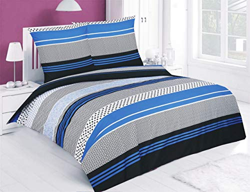 Buymax Bettwäsche-Set 3 Teilig, Renforce-Baumwolle, Reißverschluss, 200x200 cm, Blau Schwarz