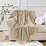 Battilo Knit Throw Artcraft Blanket with Fringe Tassels Ultra Soft Warm Sleeping Cover Blanket Rug for Bedroom Sofa Office and Living Room 60'x 50' (Ochre)