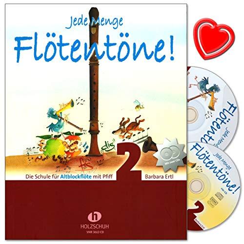 Jede Menge Flötentöne Band 2 - Die Schule für Altblockflöte mit Pfiff von Barbara Ertl - mit 2 CDs und herzförmiger Notenklammer