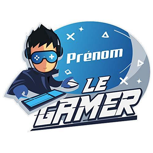 Sticker Tête de Lit pour Chambre d'enfant Gamer - Personnalisable avec Le Prénom De Votre Enfant - Dimensions 96,5 cm x 68 cm - Protection Anti-UV