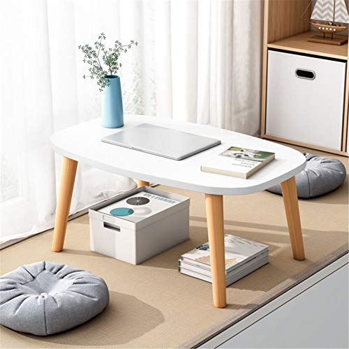 Yingm Home Decoration Portable Stand Up Eating Breakfast TV Tray Sofa Seat Reads Popular Coffee Table (Color : White, Size : 60x40x30cm)