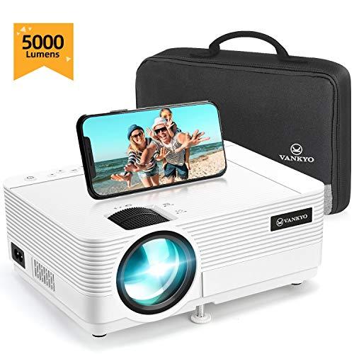 """vankyo Proiettore 720P Native 5000 Lumen, Videoproiettore Display da 250"""" HiFi Speaker, 2 Porte HDMI, con Borsa Portatile, Design Compatto per iOS/Android TV Stick Home Cinema Regalo, Leisure 470C"""
