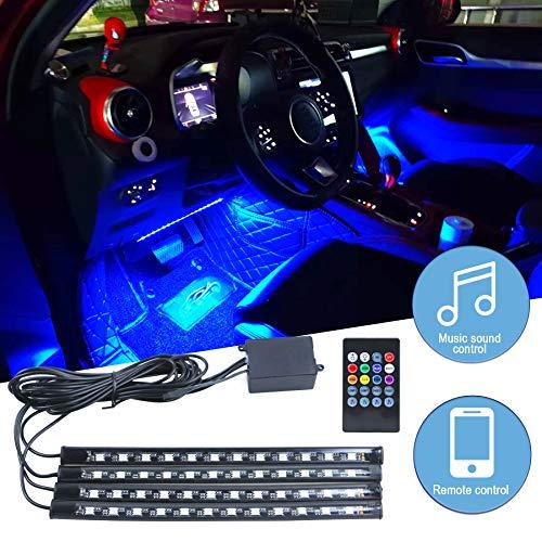 Iluminación LED interior para el coche, iluminación ambiental LED, 4 unidades, 48 ledes multicolor, con mando a distancia, puerto USB.