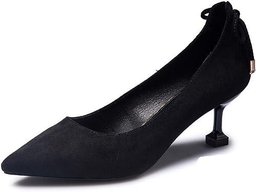 JIANXIN La Mode des Femmes De Printemps Et D'été A Souligné des Chaussures avec des Talons Hauts Et des Talons Hauts. (Couleur   Noir, Taille   EU 37 US 6 UK 4 JP 24cm)