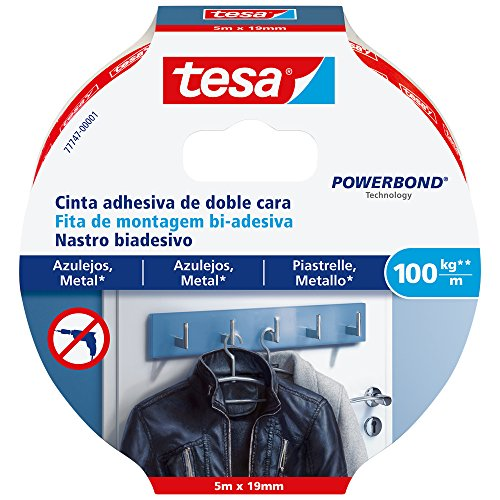 tesa 77747-00001-00 77747-00001-00-Smart Mounting System Montaje Permanente SMS Cinta D/C Powerbond 5x19mm Azulejos, Not_applicable, 5 x 19 mm