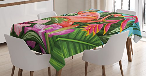 Ambesonne Flamingo Tablecloth, Illustration of Flamingo with Tropical Garden Hibiscus Flower Plant Vintage, Rectangular Table Cover for Dining Room Kitchen Decor, 60