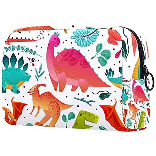 Bolsa de cosméticos Suave para Mujeres de Dibujos Animados Dinosaurio Colorido Adorable y espaciosa Bolsas de Maquillaje Bolsa de Aseo de Viaje Accesorios Organizador 7.3x3x5.1 Pulgadas