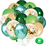 Vanjehou Green and Gold Latex Balloons, 58 pcs 12 Inches Green and Gold Confetti Balloons with 8 pcs Palm Leaves for Birthday Baby Shower Jungle Safari Theme Party Decorations.