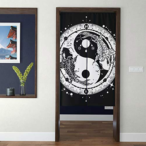 JXCSGBD Door Tapestry Japanese Bedroom Farmhouse Curtains Black and White Carp in Yin and Yang Symbol Tatto 3D Print Big Kitchen Curtains Curtains Kids Bedroom for Home Decor Long Style