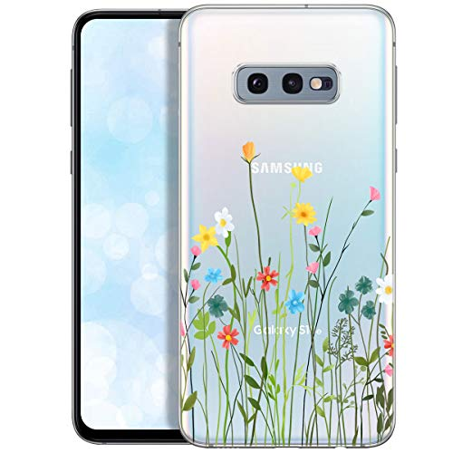 QULT Handyhülle kompatibel mit Samsung Galaxy S10e Hülle transparent mit Motiv dünn Schutzhülle durchsichtig Hülle für Samsung S10e G970F Blumenwiese