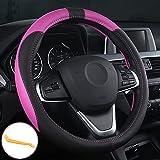 OFZVEO Coprivolante per Auto Protezione Custodia Volante Cover in Pelle Artificiale Universale 37-38cm / 15' Antiscivolo Traspirante Durevole (Rosa)