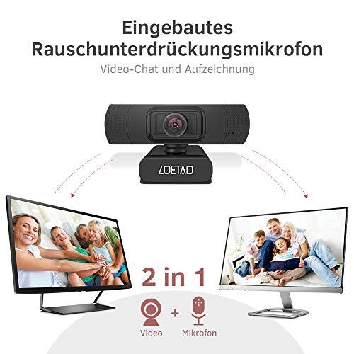 LOETAD Webcam, 1080P Full HD PC Kamera mit Mikrofon USB für Video Chat Streaming Kompatibel mit Windows Mac OS