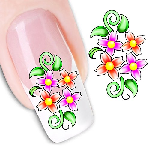 Mode Autocollant Portable Fleur Motif Nail Stickers Nail Art Outil,A