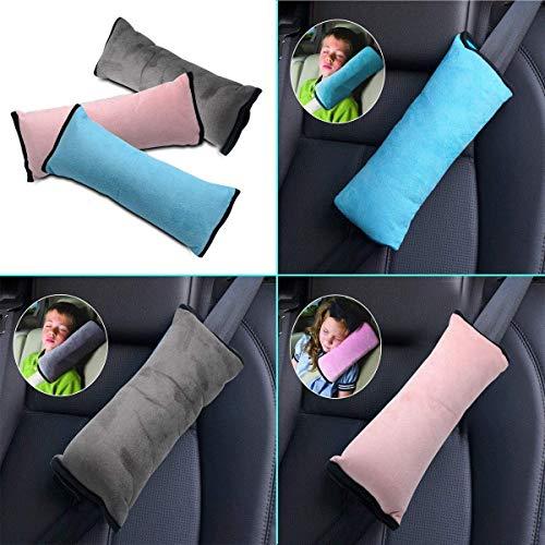 Riloer Almohada para cinturón de seguridad, 2 fundas para cinturón de seguridad de coche para niños, almohadillas protectoras ajustables, almohadillas para el hombro (gris y azul)