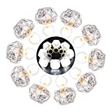 LED Light up Rings Toys, DAOKEY White Led Bumpy Rings for Birthday Bachelorette Bridal Shower Gatsby Party Favors, Clear Case 10 Pack