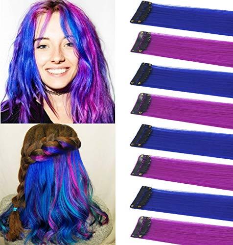 Extensiones de cabello azul y morado Clip en piezas de peluca para niños Postizos multicolores Destacados para fiestas Cabello largo para niñas Accesorios para el cabello de bricolaje Extensiones