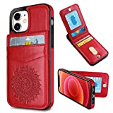 WESADN Compatible with iPhone 12, Compatible with iPhone 12 Pro Leather Wallet Case for Women with Card Holder Slot Mandala Texture Slim Protective Magnetic Closure Credit Card Pocket Cover,Red