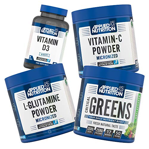 Applied Nutrition Immune Booster Bundle: Critical Greens Powder 250g + L-Glutamine Micronized 250g + Vitamin C Powder 100% Pure Vitamin-C Ascorbic Acid + Vitamin D3 Tablets Boosts Your Immune System