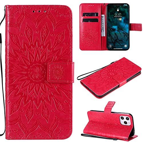 RYRYBH2848 Caja de Cuero Mandala 3D Funda de Cuero de Cuero de la PU con Soporte/Ranuras para Tarjetas/de cordón para iPhone 12 Pro MAX 6.7 Pulgadas 2020 (Color : Red)
