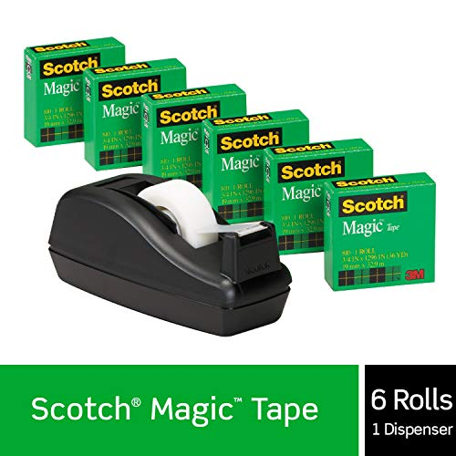 Scotch Magic Tape with Black Dispenser, 6 Rolls, Numerous Applications, Engineered for Office and Home Use, 3/4 x 1000 Inches, Boxed, 1 Dispenser (810K3)