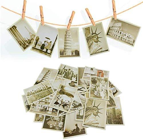 Vintage Postkarten, 1 Satz (32 Blatt) Vintage Retro Alte Reisepostkarten Altmodische Alte Postkarten Vintage Malerische Landschaften Foto Bild Poster Postkarten Grußkarten für das Sammeln Großpackung