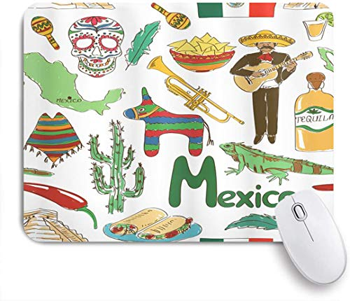 Benutzerdefiniertes Büro Mauspad,Mexikanischer Spaß Bunte Skizze Mexiko Chili Pyramide Nachos Kaktus Musik Poncho Bild,Anti-slip Rubber Base Gaming Mouse Pad Mat