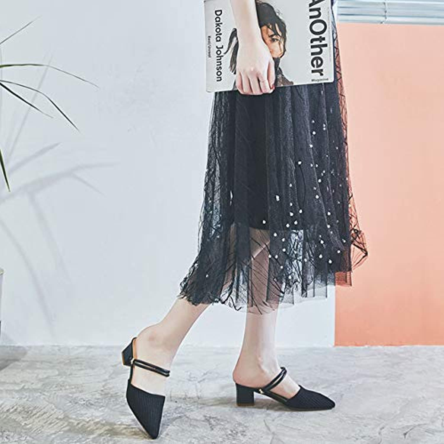Pointed Slippers Women 2019 Summer New Thick with Lazy Half Slippers Female Fairy Wind Sandals Women One shoes Two Wear,B,US6.57 EU37 UK4.55 CN37