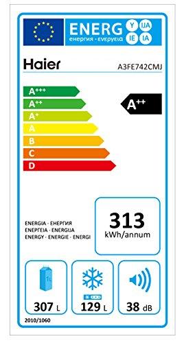 Haier A3FE742CMJ nevera y congelador - Frigorífico (Independiente, Acero inoxidable, 422L, SN, T, 38 Db, 270L)