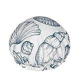 Bonnets de douche nautiques bleus de coquille de mer, bonnet de bain pour les hommes et les femmes...