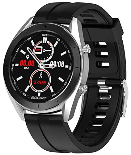 jpantech Intelligente Uhren, 1.3 Zoll Full Round HD Farb Touchscreen Fitness Tracker 5ATM wasserdichte Fitness-Uhr, Schlaf Herzfrequenz Tracker Smart Reminder, Lange Akkulaufzeit SilverBlack