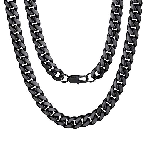 Long Stainless Steel Cuban Link Chain Curb Necklace For Men Jewerly Black Christmas Gifts