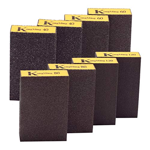 Esponja de lijado, 40/60/80/120/4 Especificaciones finas gruesas diferentes Surtido de bloques de lijado, lavable y reutilizable. (8 piezas)